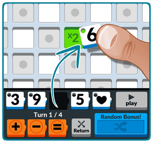 Numbered: Start the game by dragging a number into the center cell of the board.