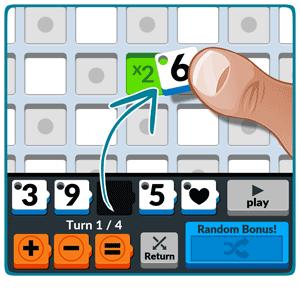 Numbered: Puedes iniciar el juego arrastrando un número en la casilla central del tablero.