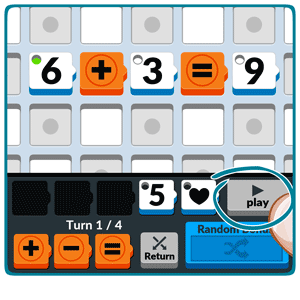 Numbered: To end your move, click on 'play', and your opponent will be sent your move and your score. Now it's their turn.