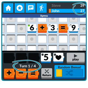 Numbered: You can see your and your opponent's scores at the top of the screen. At the bottom of the screen you can see which is the current turn.